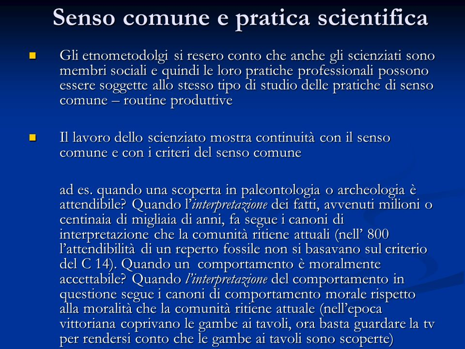 Senso comune e pratica scientifica