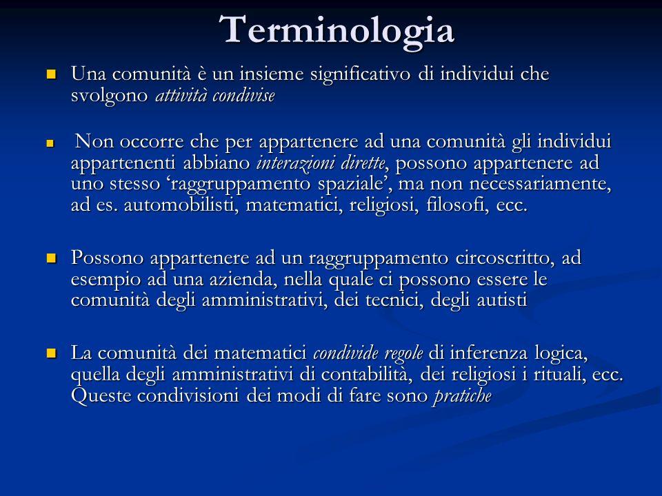 Terminologia Una comunità è un insieme significativo di individui che svolgono attività condivise.