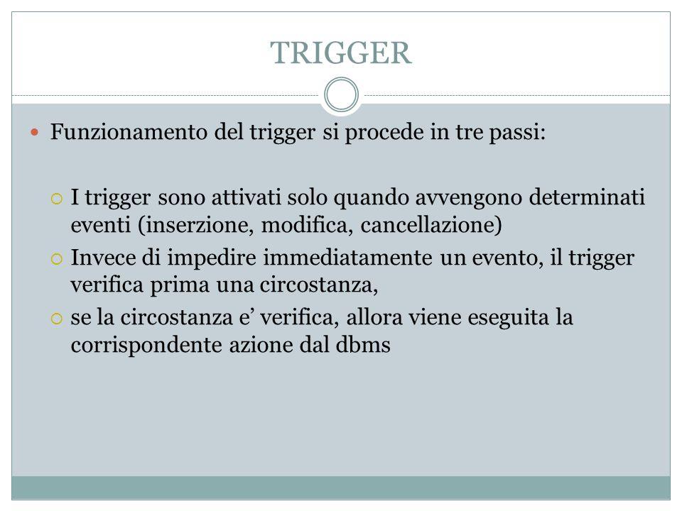 TRIGGER Funzionamento del trigger si procede in tre passi: