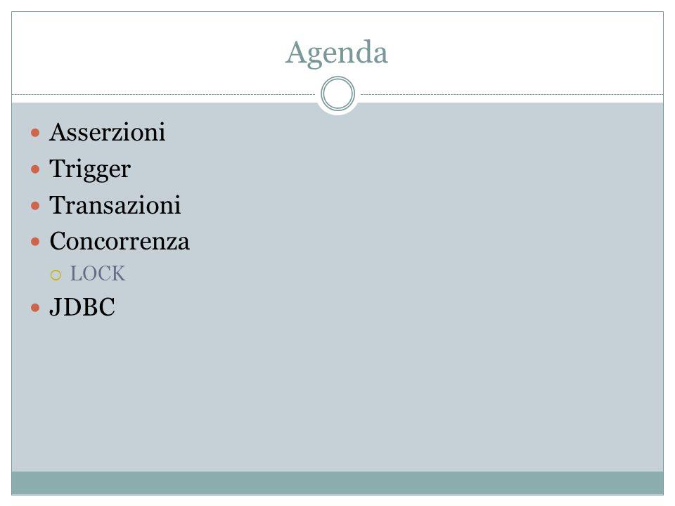 Agenda Asserzioni Trigger Transazioni Concorrenza LOCK JDBC
