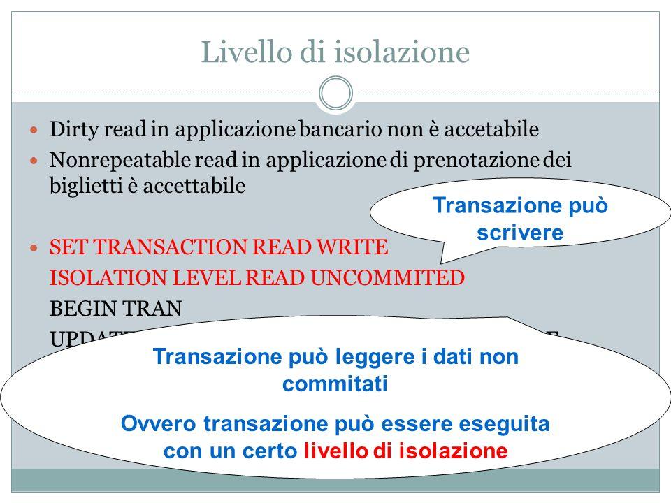 Transazione può scrivere Transazione può leggere i dati non commitati