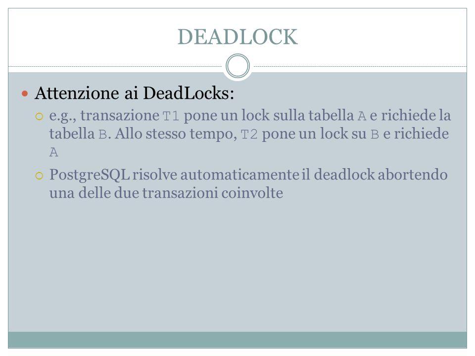 DEADLOCK Attenzione ai DeadLocks: