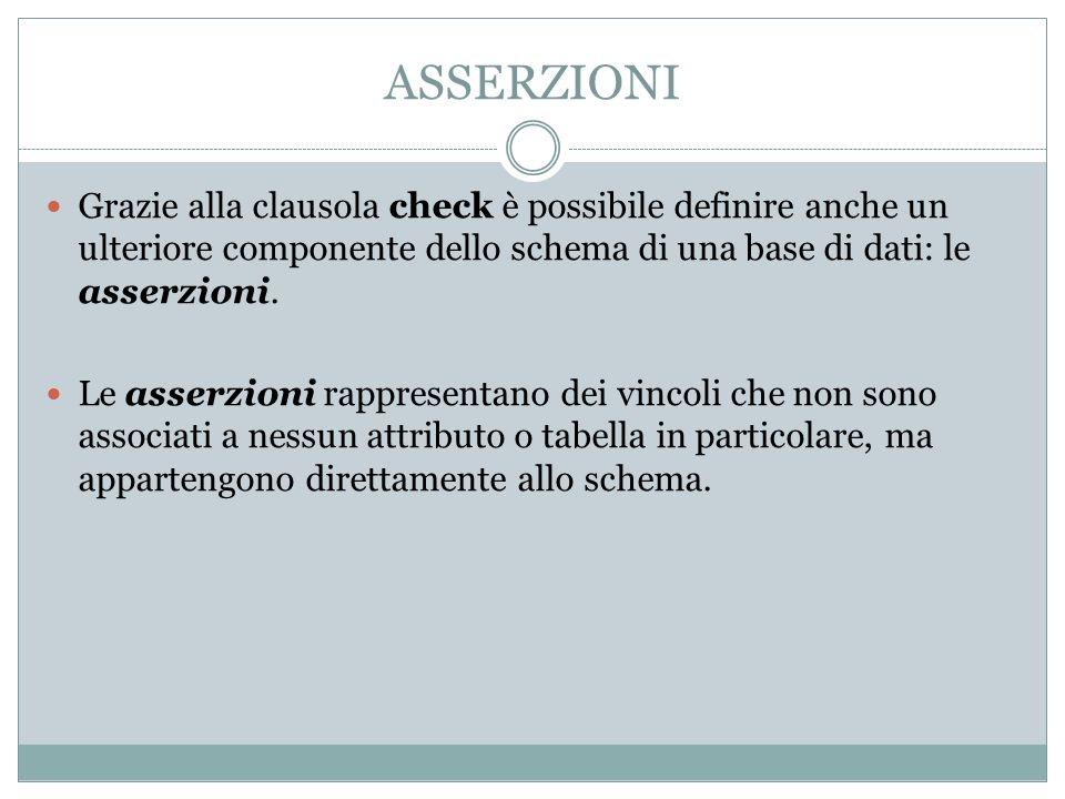 ASSERZIONI Grazie alla clausola check è possibile definire anche un ulteriore componente dello schema di una base di dati: le asserzioni.