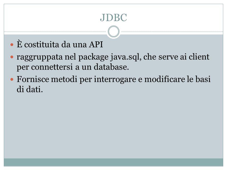 JDBC È costituita da una API