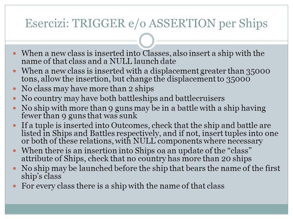 Esercizi: TRIGGER e/o ASSERTION per Ships