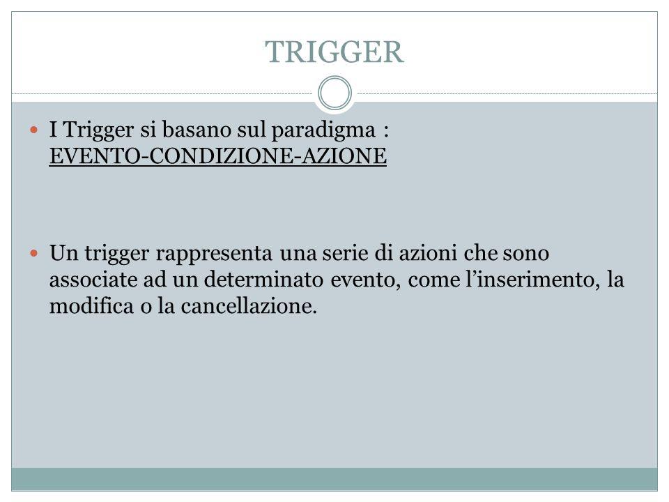 TRIGGER I Trigger si basano sul paradigma : EVENTO-CONDIZIONE-AZIONE