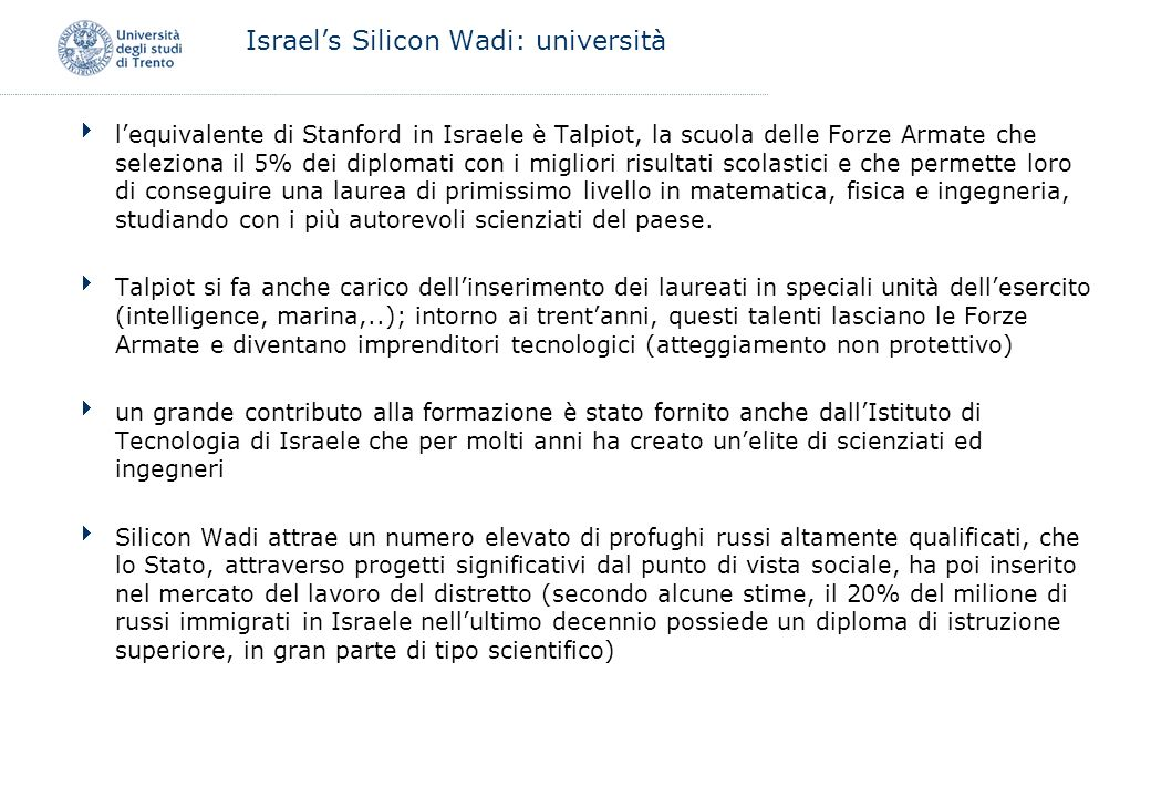 Israel's Silicon Wadi: università