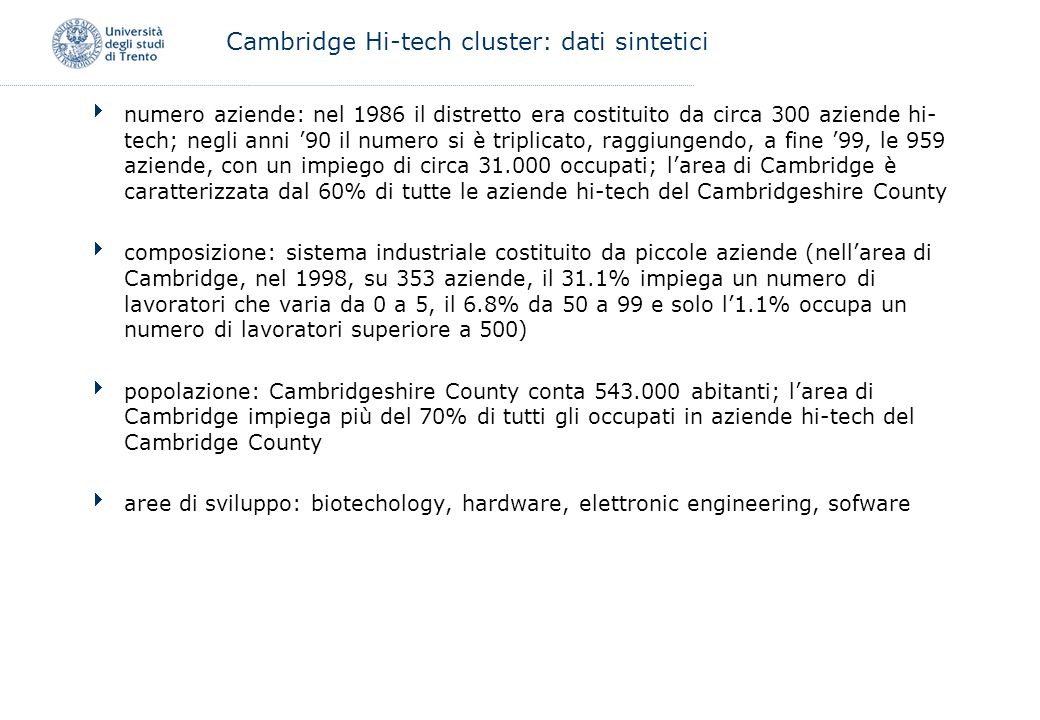 Cambridge Hi-tech cluster: dati sintetici