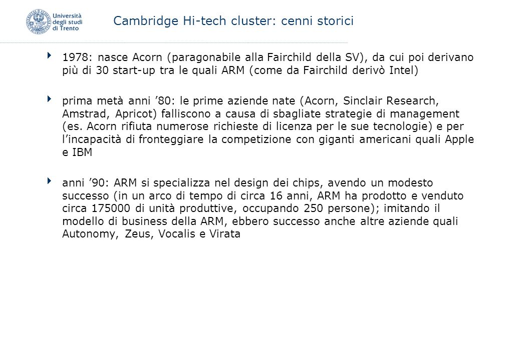 Cambridge Hi-tech cluster: cenni storici