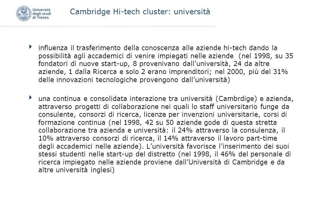 Cambridge Hi-tech cluster: università