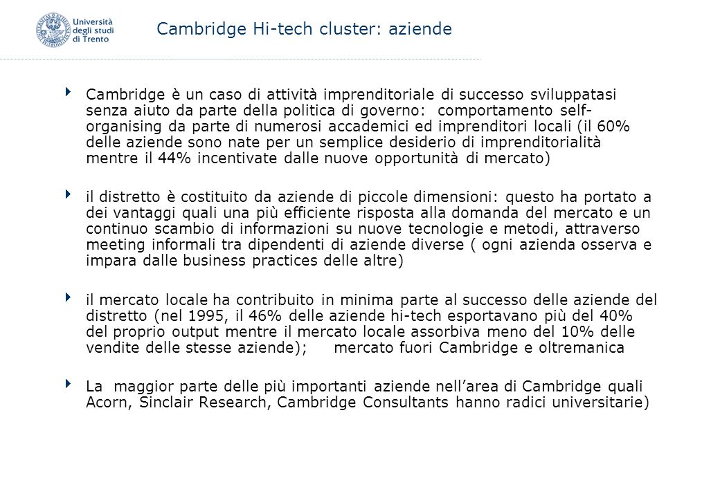 Cambridge Hi-tech cluster: aziende