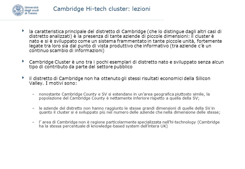 Cambridge Hi-tech cluster: lezioni