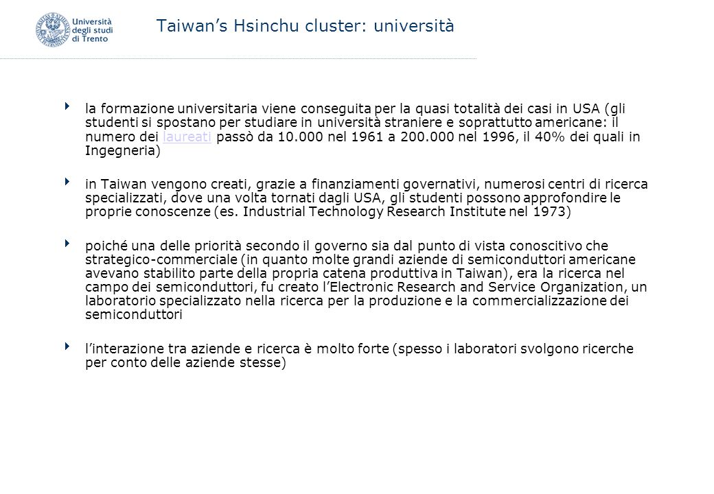 Taiwan's Hsinchu cluster: università
