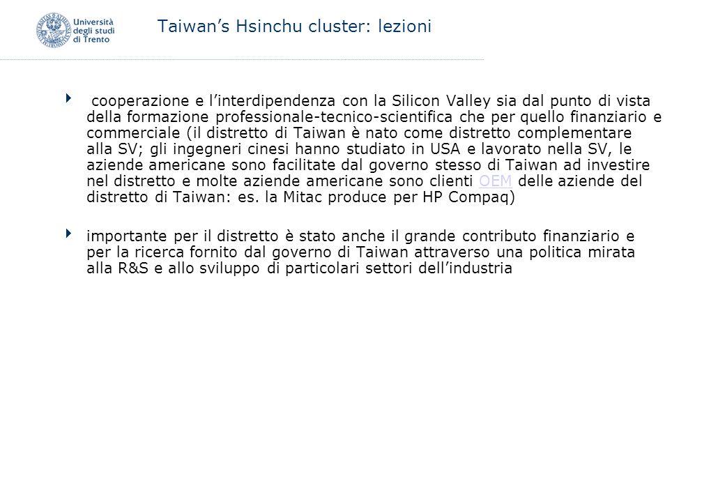 Taiwan's Hsinchu cluster: lezioni
