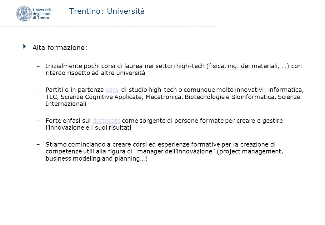 Trentino: Università Alta formazione: