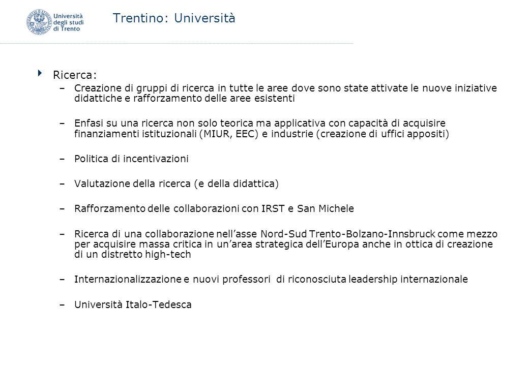 Trentino: Università Ricerca: