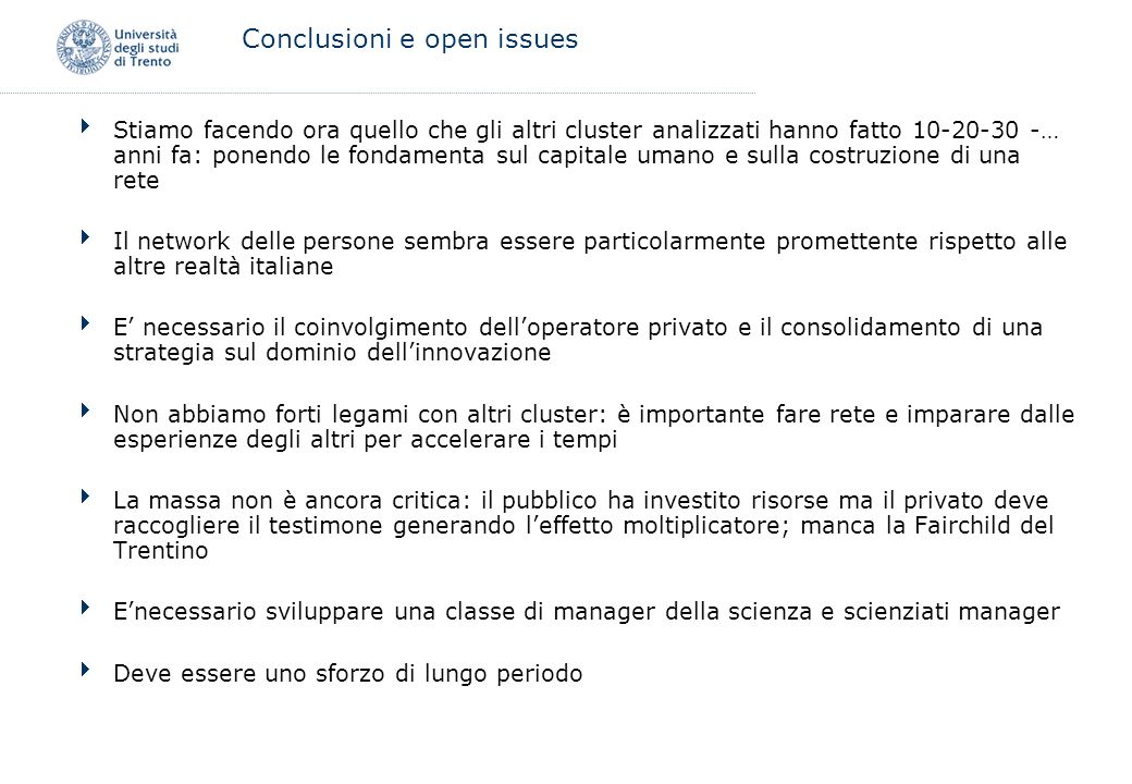 Conclusioni e open issues