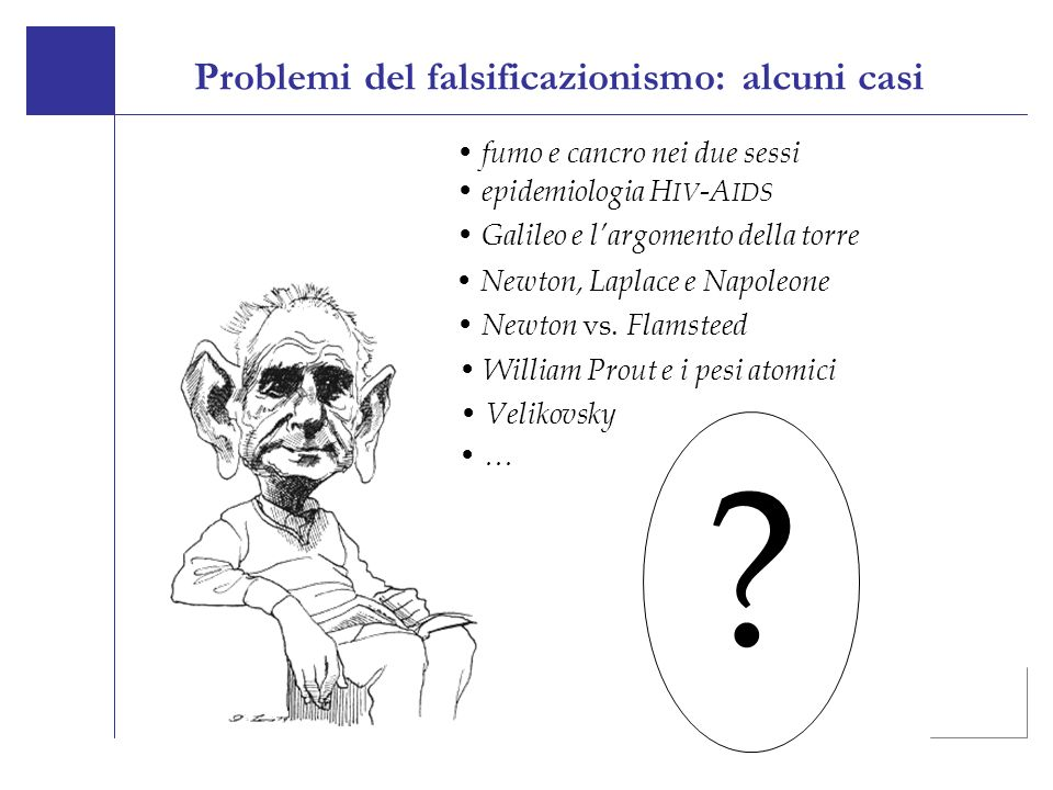 Problemi del falsificazionismo: alcuni casi