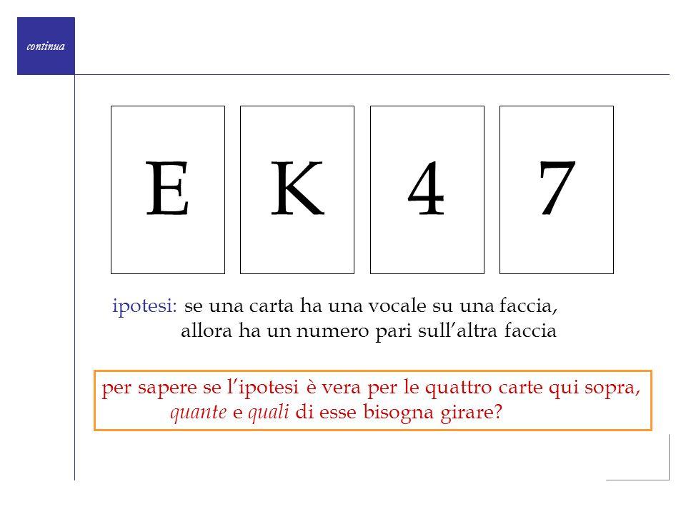 E K 4 7 ipotesi: se una carta ha una vocale su una faccia,
