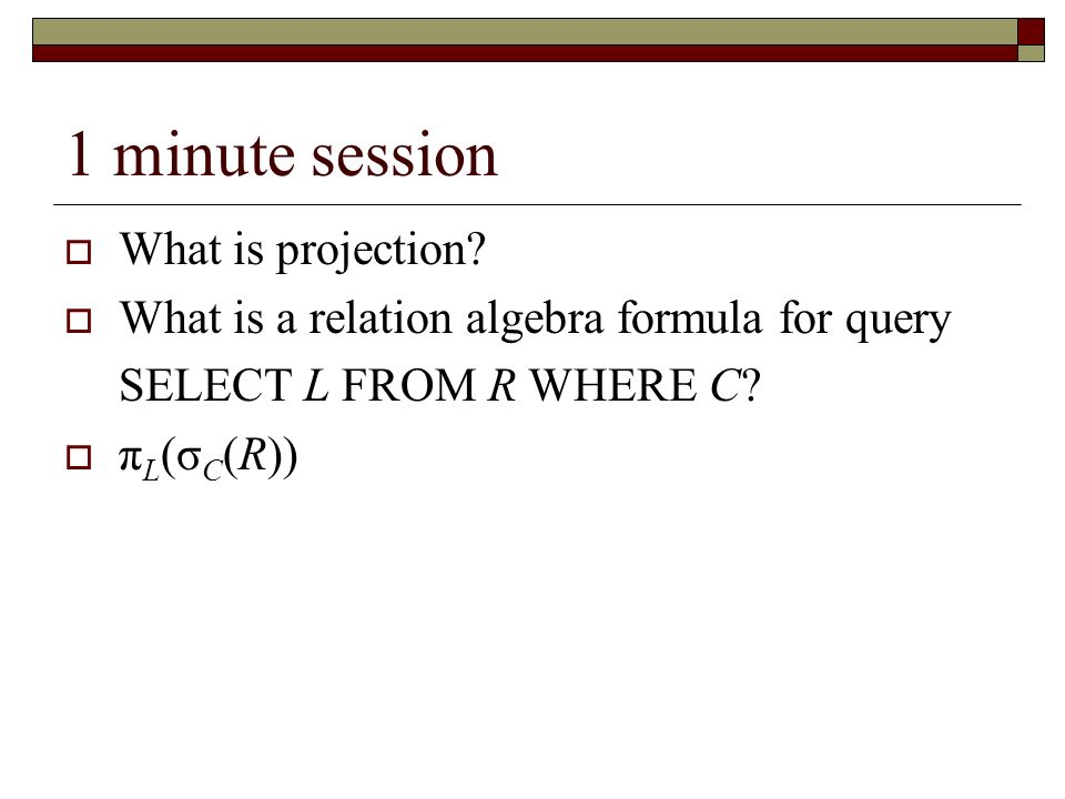 1 minute session What is projection