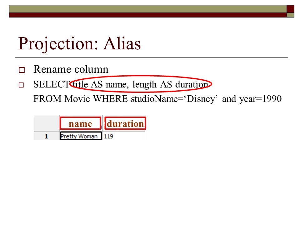 Projection: Alias Rename column