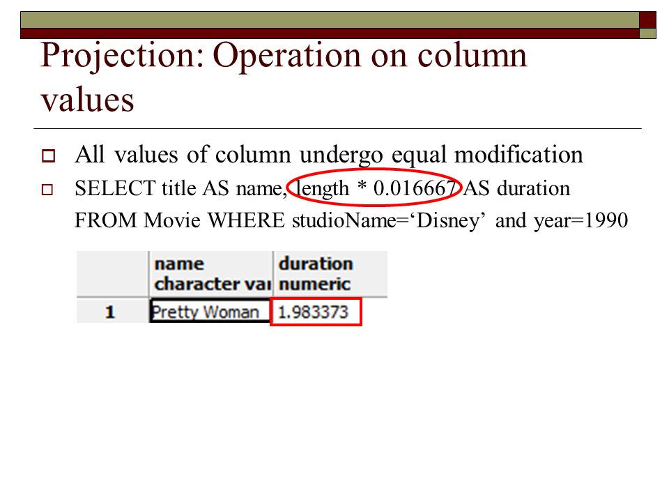 Projection: Operation on column values