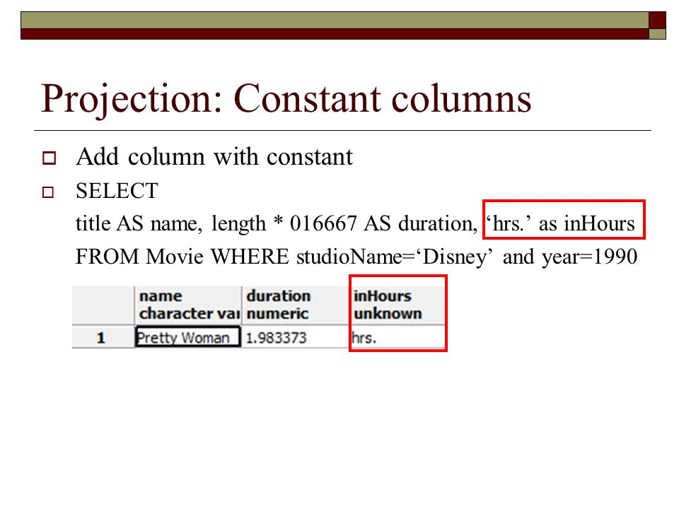 Projection: Constant columns