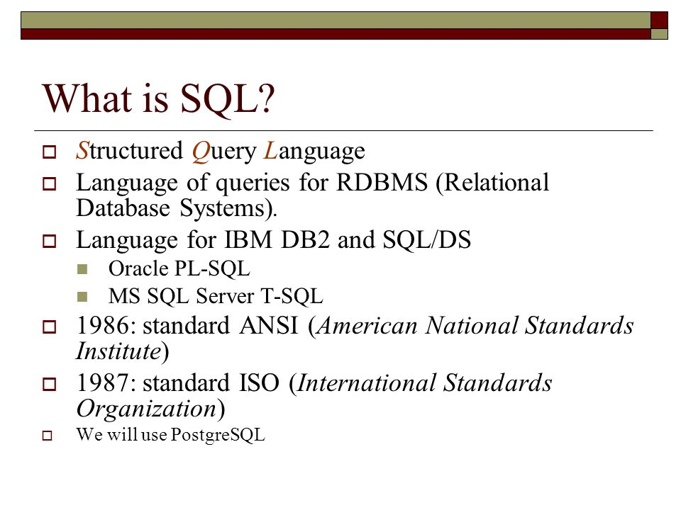 What is SQL Structured Query Language
