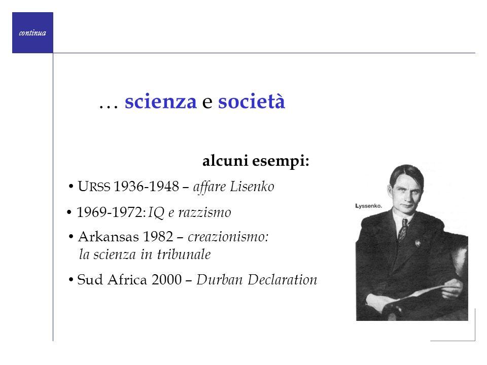 … scienza e società alcuni esempi: URSS 1936-1948 – affare Lisenko