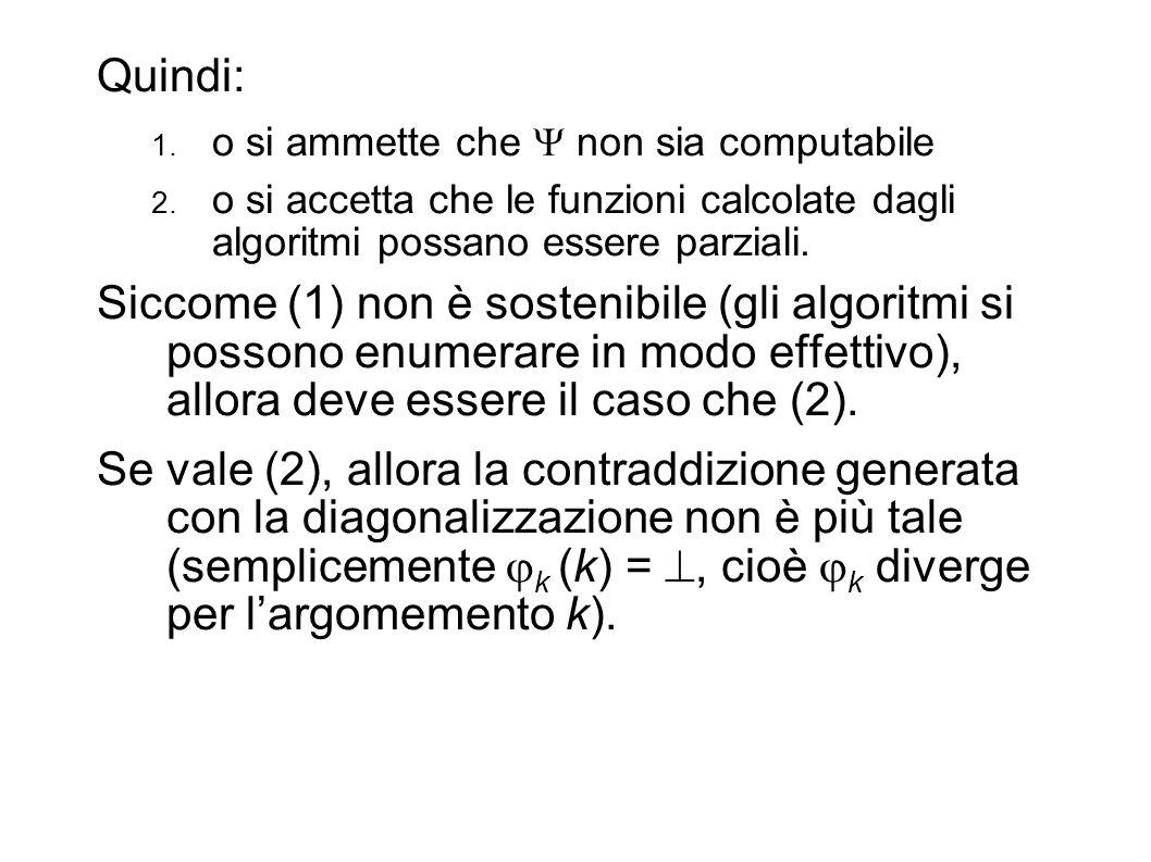 Quindi: o si ammette che  non sia computabile. o si accetta che le funzioni calcolate dagli algoritmi possano essere parziali.