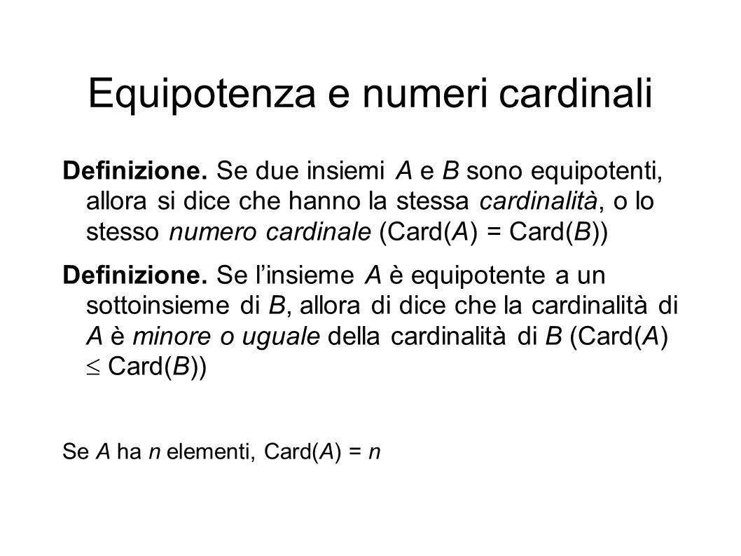 Equipotenza e numeri cardinali