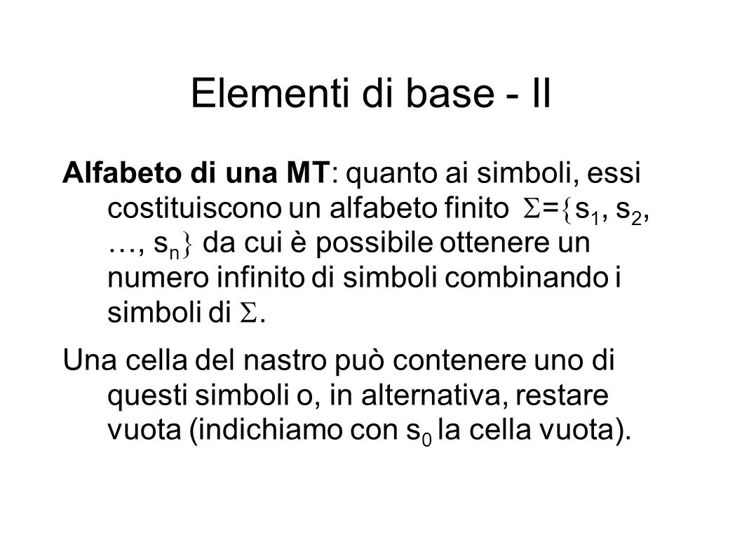 Elementi di base - II