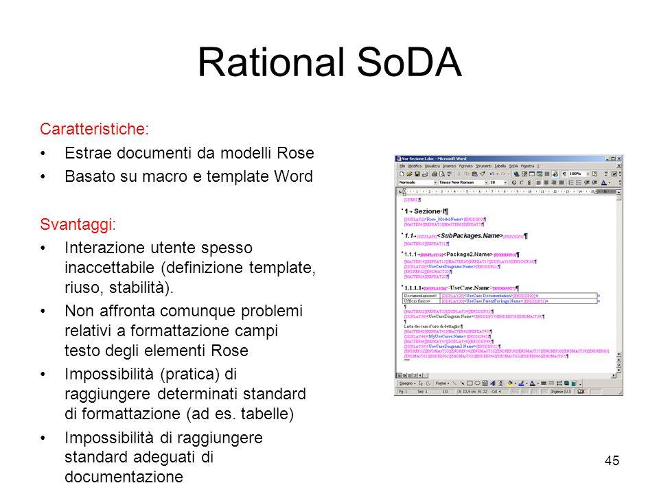 Rational SoDA Caratteristiche: Estrae documenti da modelli Rose