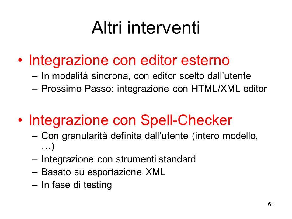 Altri interventi Integrazione con editor esterno