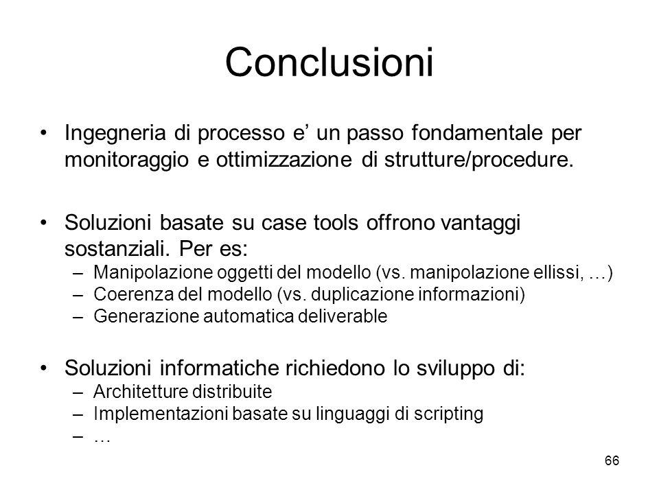 Conclusioni Ingegneria di processo e' un passo fondamentale per monitoraggio e ottimizzazione di strutture/procedure.