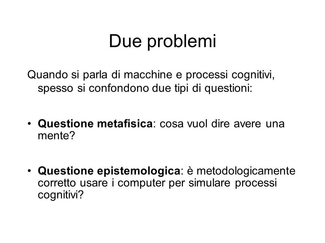 Due problemi Quando si parla di macchine e processi cognitivi, spesso si confondono due tipi di questioni:
