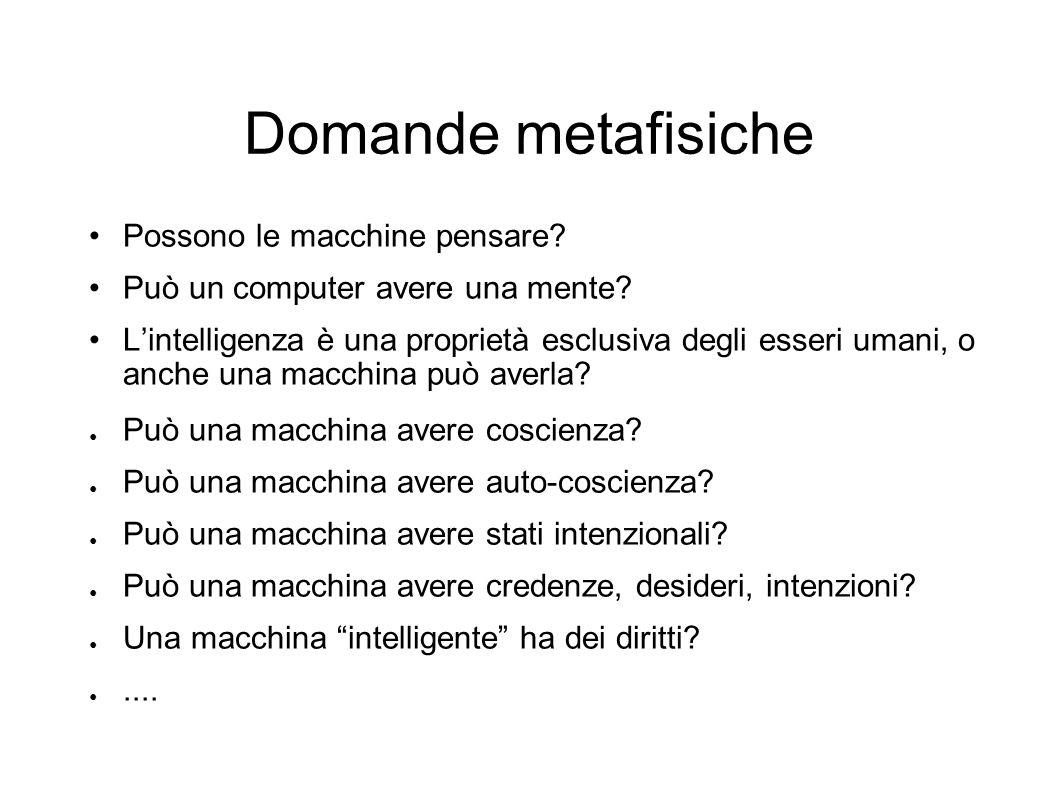 Domande metafisiche Possono le macchine pensare