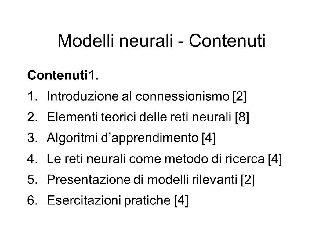 Modelli neurali - Contenuti