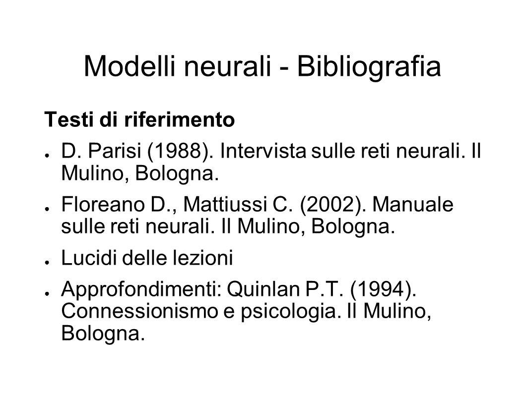 Modelli neurali - Bibliografia