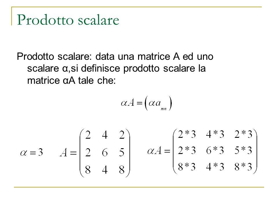 Prodotto scalare Prodotto scalare: data una matrice A ed uno scalare α,si definisce prodotto scalare la matrice αA tale che: