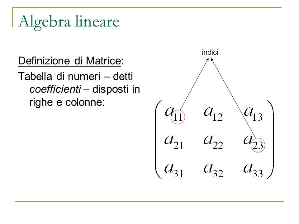Algebra lineare Definizione di Matrice: