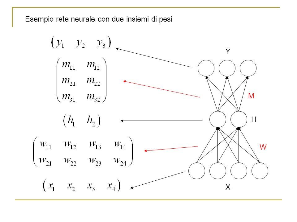 Esempio rete neurale con due insiemi di pesi