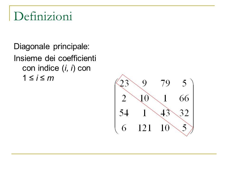 Definizioni Diagonale principale: