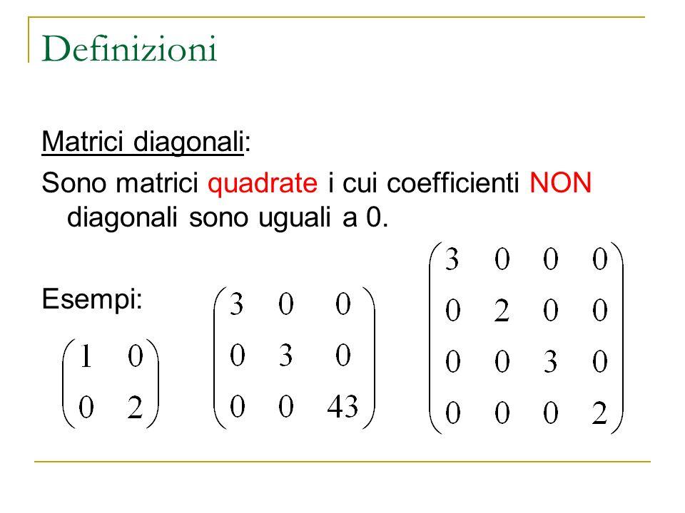 Definizioni Matrici diagonali: