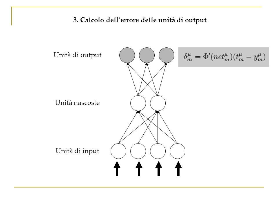 3. Calcolo dell'errore delle unità di output