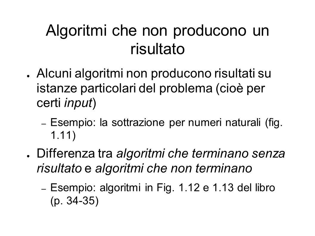 Algoritmi che non producono un risultato