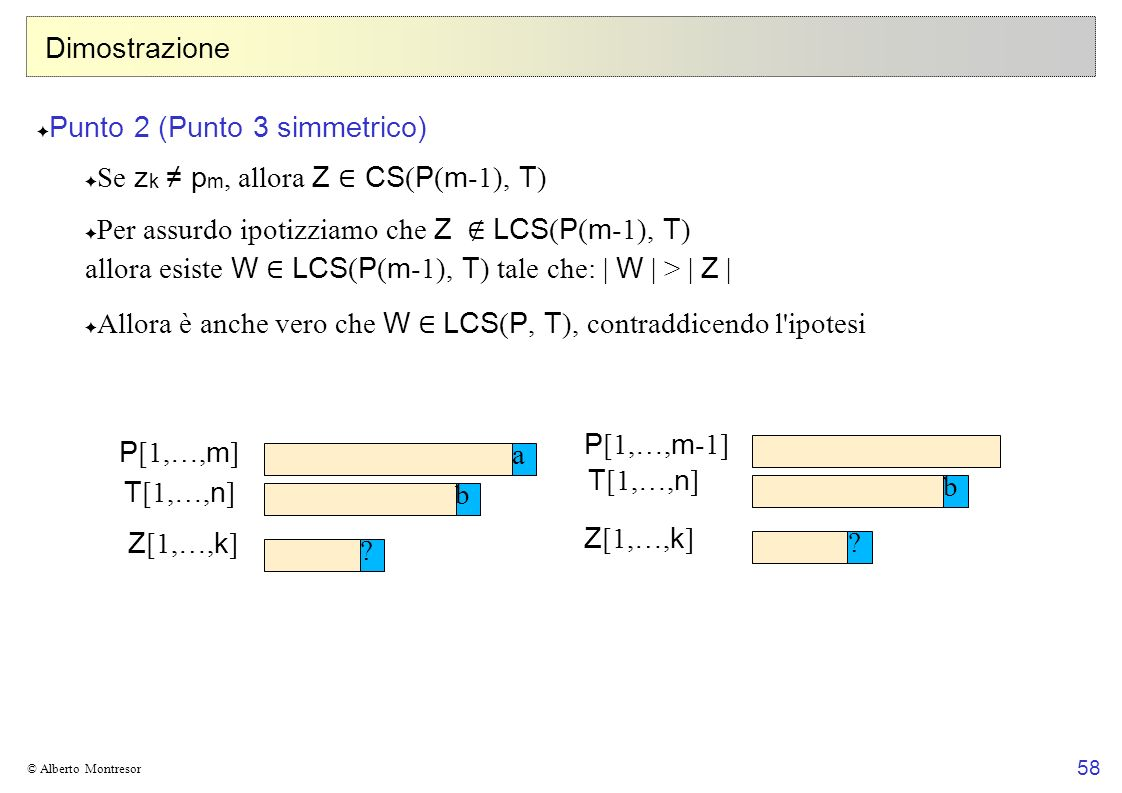 Punto 2 (Punto 3 simmetrico) Se zk ≠ pm, allora Z ∈ CS(P(m-1), T)