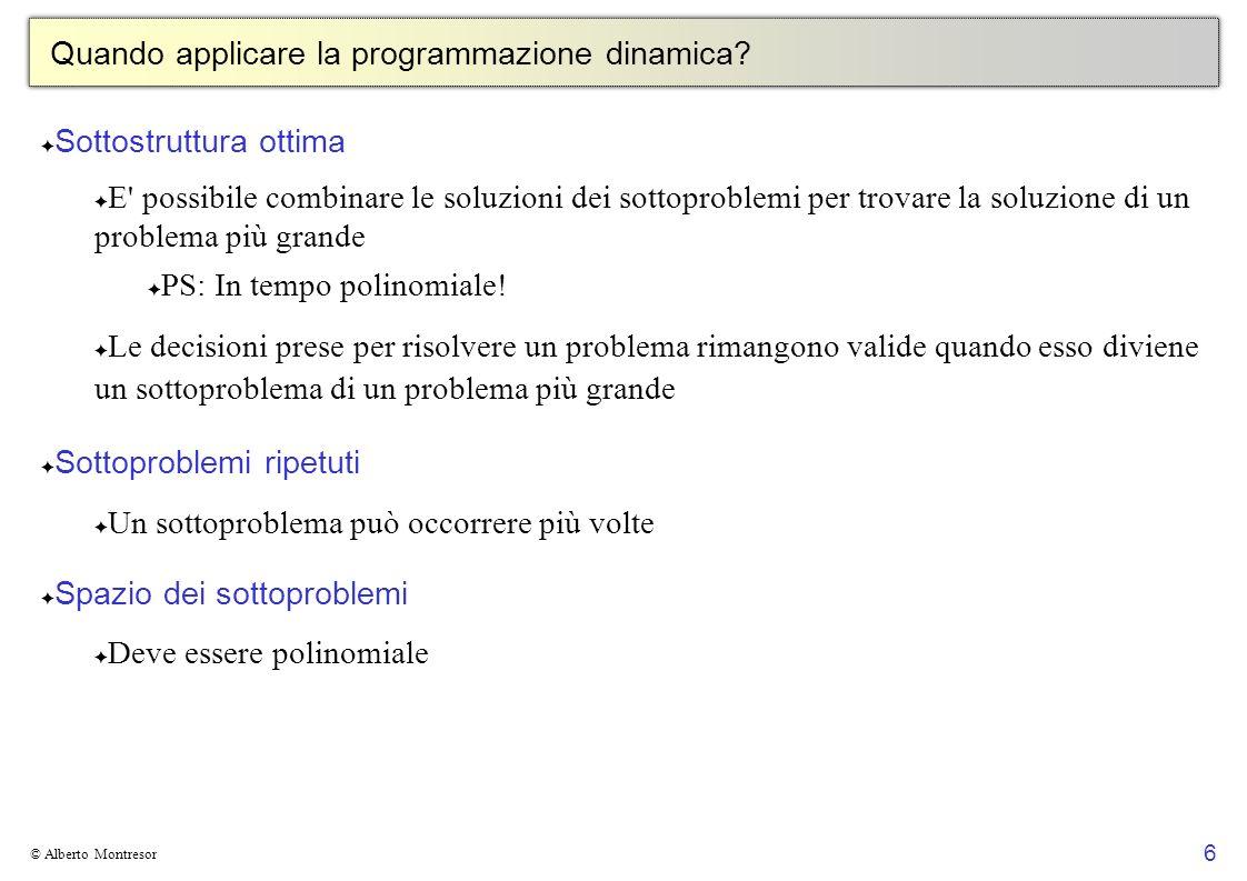 Quando applicare la programmazione dinamica
