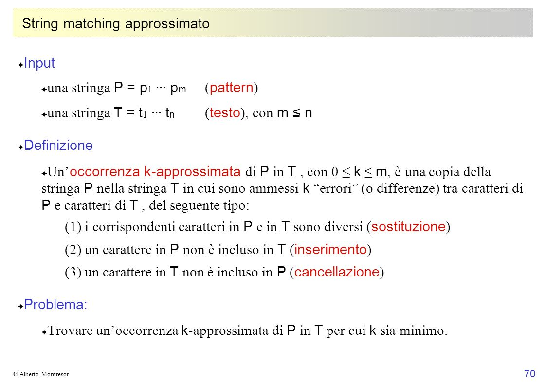 String matching approssimato