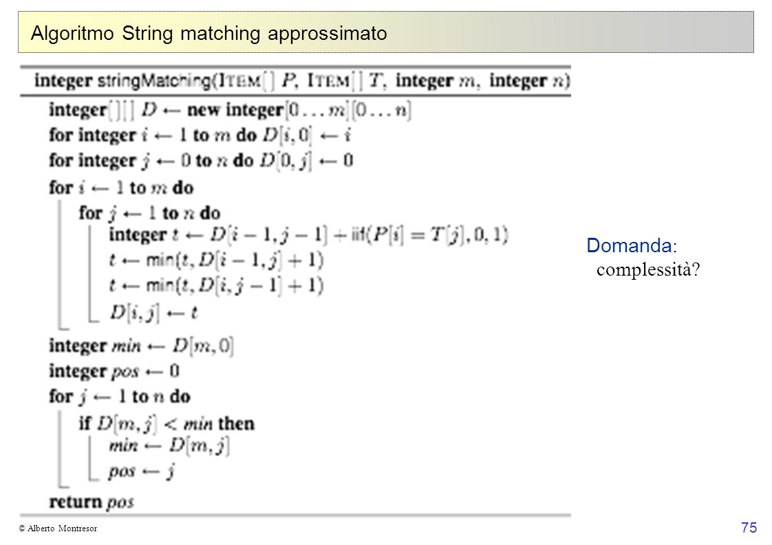 Algoritmo String matching approssimato